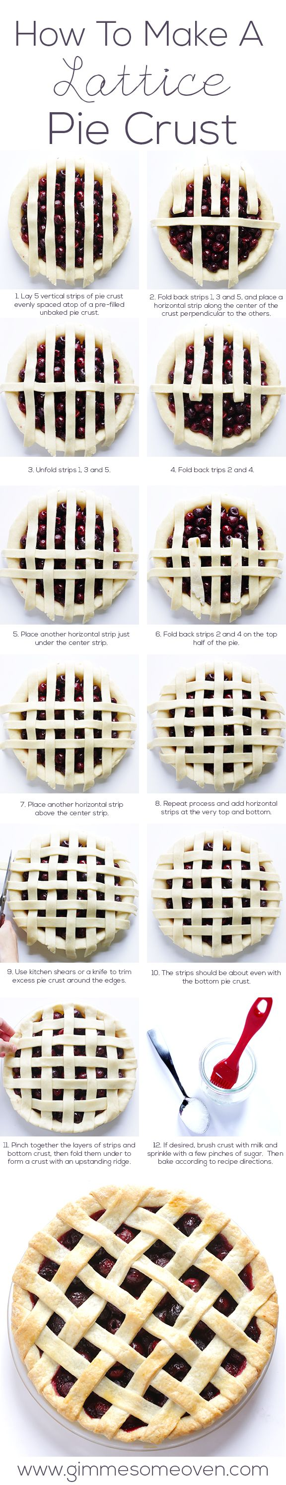 How To Make A Lattice Pie Crust -- It is MUCH easier than you might think!  Just follow our step-by-step instructions for a lovely pie. | gimmesomeoven.com #dessert #diy