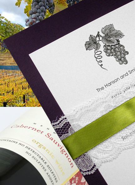 Lovely Purple Invitations with Lace and Moss Satin Wrap for Winery Weddings and Events | Invitation IdeasInvitation Ideas