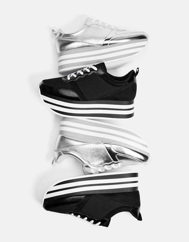 Silver/black platform sneakers - Bershka #fashion #product #shoes #sneakers #platform  #heels #black #silver #metallic #zapatillas #negro #plata #plateado #plataforma #trend #trendy #girl #girly #cool