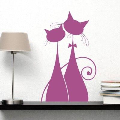 """Adesivo Murale - Gatti In Love.  Adesivo murale di alta qualità con pellicola opaca di facile installazione. Lo sticker si può applicare su qualsiasi superficie liscia: muro, vetro, legno e plastica.  L'adesivo murale """"Gatti In Love"""" è ideale per decorare il soggiorno. Adesivi Murali."""