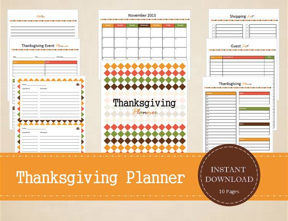 Thanksgiving Planner  Thanksgiving Calendar  by MBucherConsulting