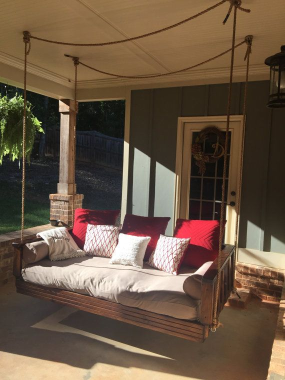 448 best images about porch swings on pinterest for Outdoor swing bed