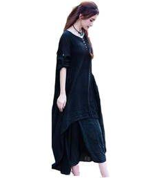 Buy black art silk plain semi stitched kurti party-wear-kurti online