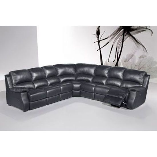 Listen to the beat of Esprit black leather corner #sofaset and it will have you comfortably relaxed for a long time. It is a 3 piece corner set with a 2 piece sofa set featuring multi-position recliner #chair. Purchase this product at http://www.furnitureinfashion.net/esprit-black-leather-corner-sofa-with-electric-reclinersofabed-p-19290.html