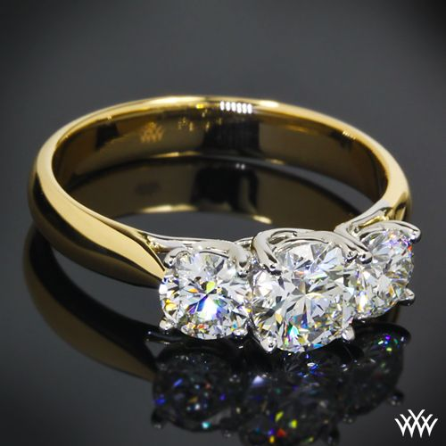 18k Yellow Gold Trellis 3 Stone Engagement Ring With White Gold Head