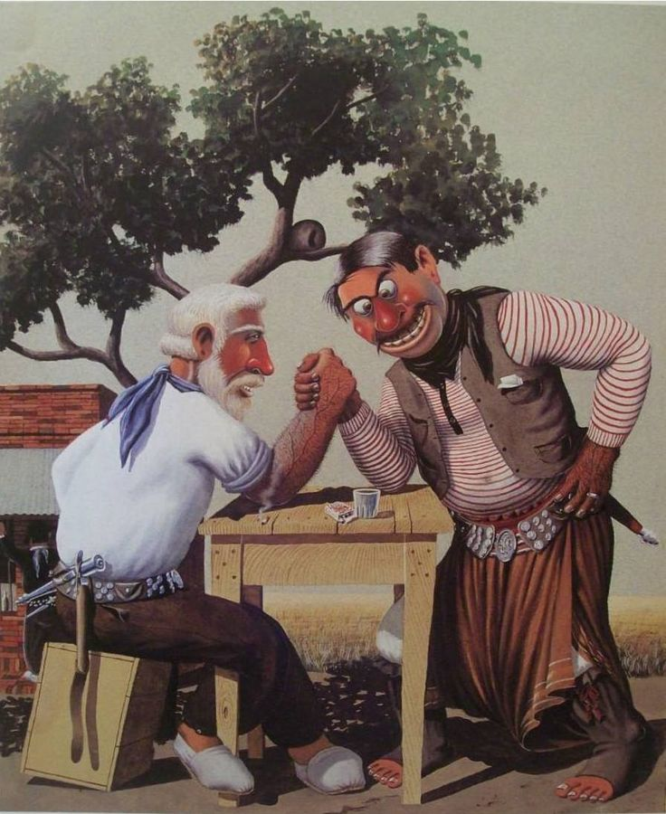 Molina Campos - HABIA SIDO JUERTE 'L VIEJITO. This Argentinian painter represents gauchesco scenes with a bit of humor.