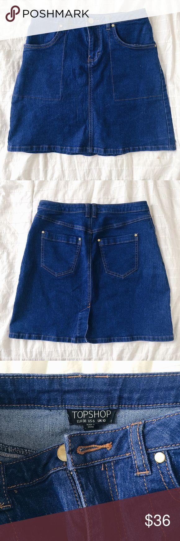 Topshop Blue Jean Stretch Denim Skirt Topshop A line jean skirt in bright blue denim with brass hardware. Topshop Skirts Mini