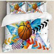 Teen Room Decor King Size Duvet Cover Set, Basketball in front of Zigzag Circular Geometric Minimalist Forms Graphic, Decorative 3 Piece Bedding Set with 2 Pillow Shams, Multicolor, by Ambesonne
