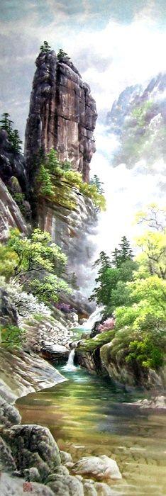 문정웅 그림『금강산 만물상』, 그는 1944년 평양에서 출생. 평양미대를 졸업 후, 만수대창작사에서 40여년간 활동하였다. 그의 작품은 색채가 풍부하고 필치가 활달하며 특히 금강산의 가을