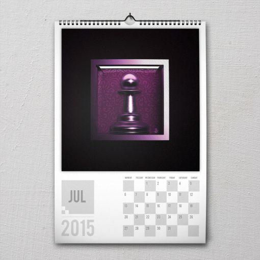 July 2015 #PremiumChessArtCalender #PremiumChess #chess #art #calender #kalender #LikeableDesign #illustration #3Dartwork #3Ddesign #chesspieces #chessart
