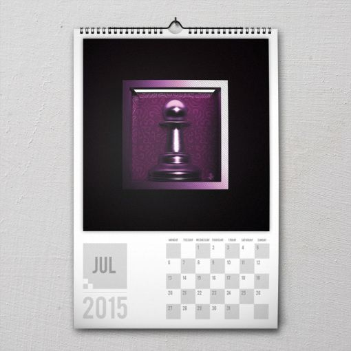 July 2015 #PremiumChessArtCalender #PremiumChess #chess #art #calender #kalender #LikeableDesign #illustration #3Dartwork #3Ddesign #chesspieces #chessart