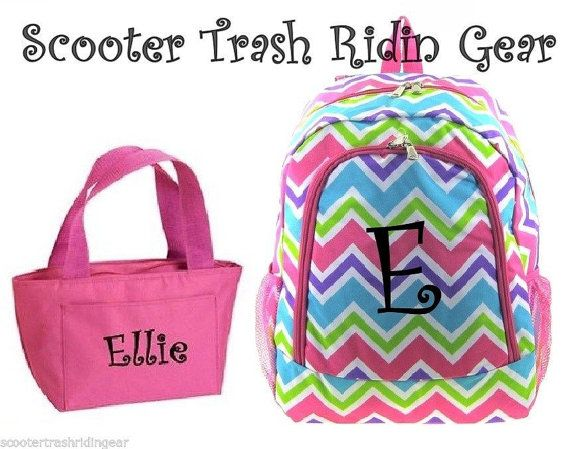 Personalized Backpack Lunch Bag Chevron Zig Zag Pink Monogram Book Tote School New
