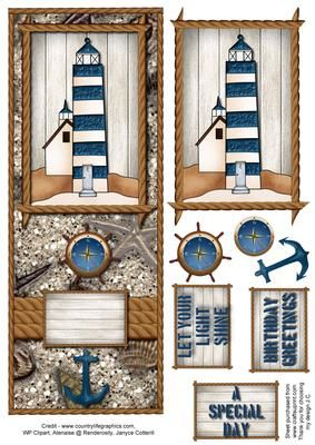 Let Your Light Shine on Craftsuprint designed by Janyce Cotterill - Easy card to put together, for anyone who likes the sea, boats, ships and things nautical - or a general male card. Or it could even be used as a good luck card, perhaps for someone starting a new job or starting a new path in life as there is a greetings which says - Let Your Light Shine - the other two say Birthday Greetings, and A Special Day. There is of course the blank on the card front which you could use for your own…