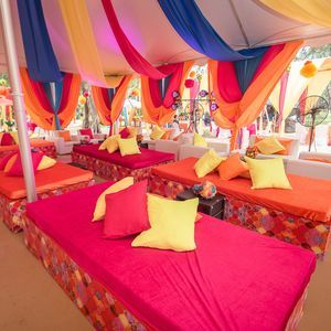 colourful decorations - cushions - draping