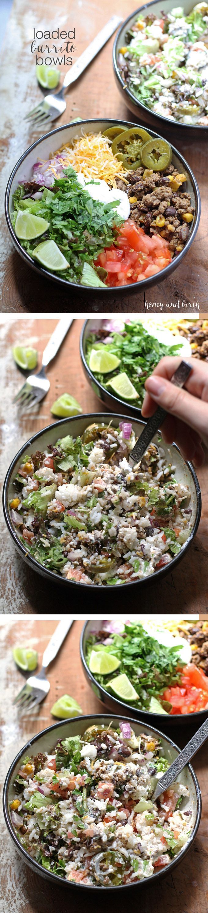 If you have picky eaters or need to eat dinner quick, this recipe for loaded burrito bowls will hit the spot!   www.honeyandbirch.com