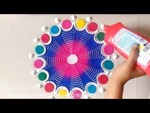Simple Rangoli Design Using Bowl & comb by Creative Hands // Easy  Rangoli for Diwali - YouTube