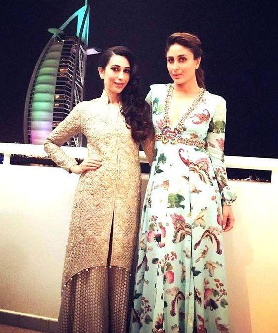 Karisma Kapoor and Kareena Kapoor in Dubai at TOIFA Awards 2016.: