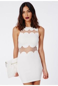 Sandy Scallop Shift Dress White - interesting!
