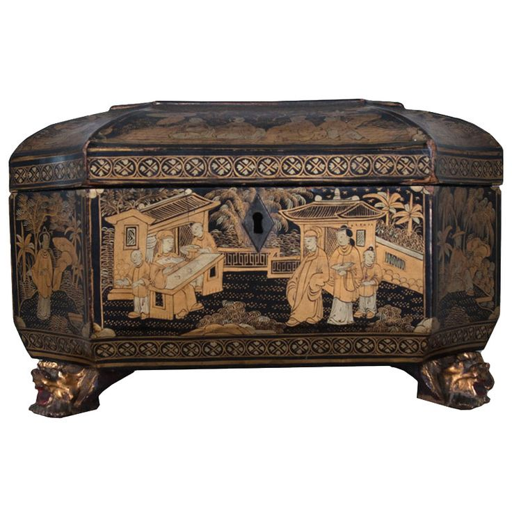 French 19th Century Chinoiserie Tea Caddy | From a unique collection of antique and modern boxes at http://www.1stdibs.com/furniture/more-furniture-collectibles/boxes/