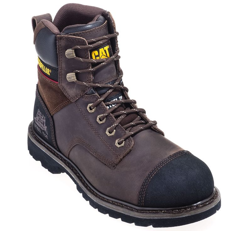 Caterpillar 90368 Mens Dark Brown Traction Steel Toe EH Work Boots are The uppers of these Caterpillar boots are made with dark brown ful