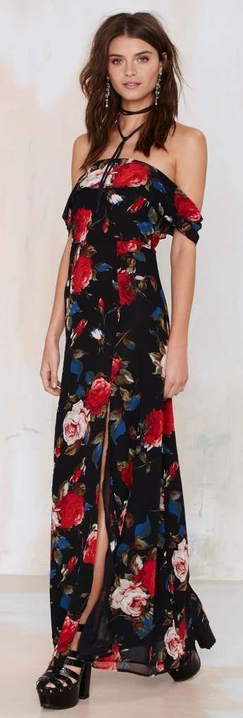 Nasty Gal  | Coming Up Roses Maxi Dress