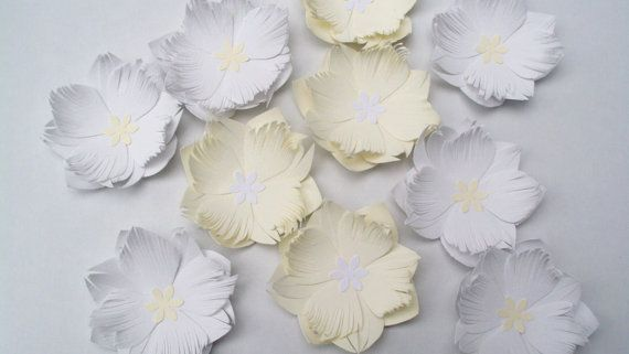 30 paper card flowers large cream and white 6cm by hyp1ro on Etsy