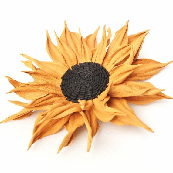 Leather jewelry, leather corsage, leather flower, leather sunflower, leather gift for her, fall brooch