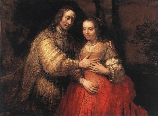 <유대인 신부>, 렘브란트, 1665~69. 이 작품은 모델이 누구인지가 화제가 되었다고 한다. 신부의 볼그스레한 볼은 그녀의 붉은 드레스 빛깔을 옮겨놓았나 보다. 부끄럽고 설레 보인다. 남편이 살포시 포옹하는 것에 응답하여 손을 올려 닿았다. 잉꼬부부가 될 것 같다.