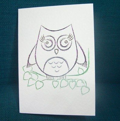 Hand Stitched Owl Greeting Card – can be personalised