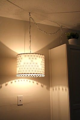 DIY Swag Light and Drum Lampshade Tutorial ...  With a different lampshade, I think it would be nice to have a swag light in my entryway if the ceiling isn't too high, as well as a swag light roughly over the couch.  Just something to help out the floor lamp.