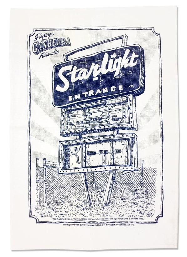 Starlight Drive-in Memorial Tea Towel : Newcastle Productions