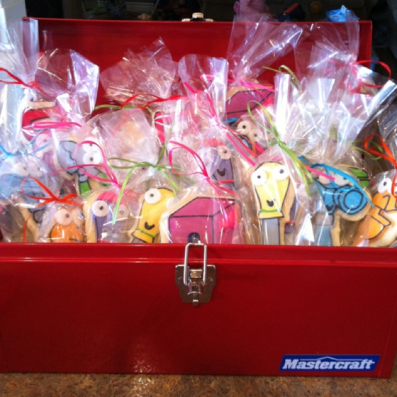 My son's treat bag cookies for his Handy Manny themed 3rd birthday party. They were a hit with the kiddos!