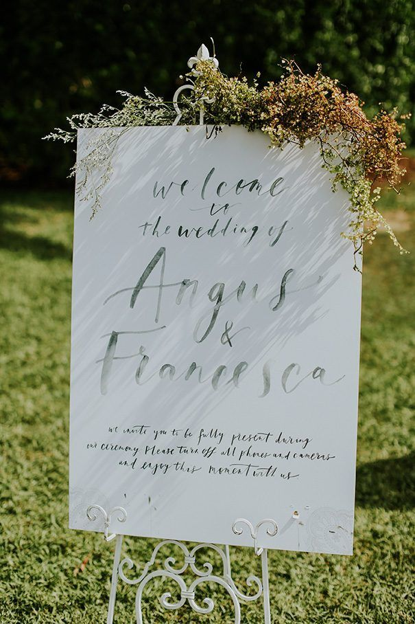 FRANCESCA + ANGUS // #wedding #bride #groom #ceremony #reception #sign #signage #welcome #palmbeach #flowers #foliage