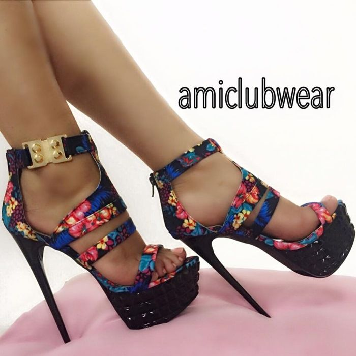 1000  ideas about Floral Strappy High Heels on Pinterest   Purple ...