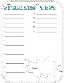 Free Printable Spelling Test Paper | Fun Spelling Test Template - Taylor Campbell - TeachersPayTeachers.com: