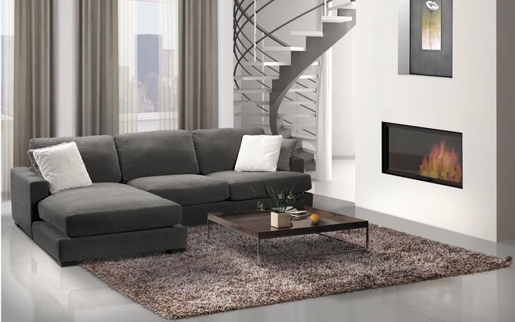 Sectional Winslow - Contemporary Style - Jaymar Collection.  Grey fabric sectional.