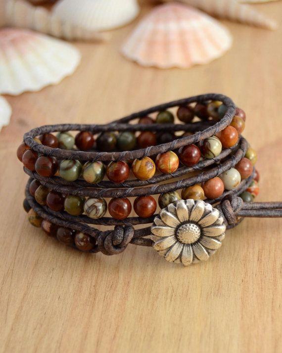 Earth tone beaded bracelet. Natural triple wrap by SinonaDesign, €47.00