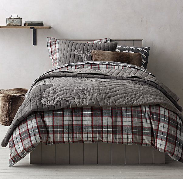Lodge Plaid Amp Moose Flannel Bedding Collection Ruff Hewn