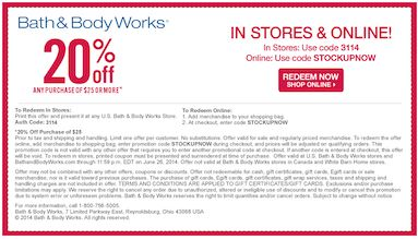 20% off any purchase. 63 used today $51 avg order. Choose the best Bath & Body Works coupon you have when you shop because only one promotion can be used per transaction. If an offer for free shipping on a minimum total is active, however, you can usually combine it with the single coupon .