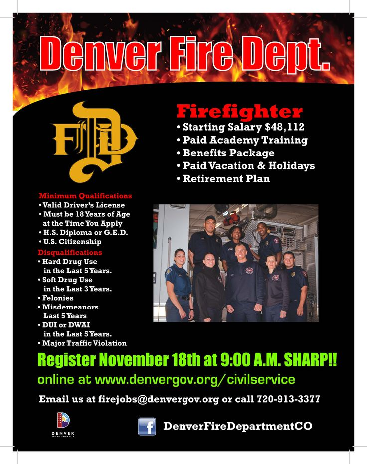 Want to be a Denver Firefighter? Registration for the next Denver Firefighter Test opens online at www.denvergov.org/civilservice at 9 a.m. SHARP on Monday, November 18, 2013. Similar to purchasing concert tickets, a limited number of spots are available, and they are expected to fill in 10-15 minutes. Applicants are recommended to go online at 8:45 a.m. and hit the refresh button until the application form appears. Only 950 registrations will be accepted.