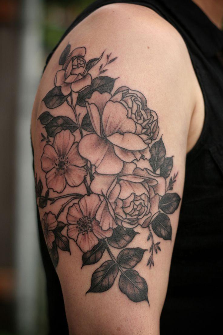 Alice Carrier Floral Tattoo - Wonderland Tattoo Portland, OR