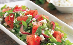 Healthy Dining Finder - Feta Watermelon Salad from BJ's Restaurants // recipe behind this link. One of my favorite salads ever! We don't use mint in ours nor do we pickle our onions which means we can make this any night of the week, even spur of the moment like. Also, recommend finding sheep's milk feta, it's creamier and smoother than any packaged feta.