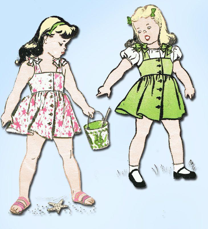 1940s Vintage New York Sewing Pattern 1870 Toddler Girls Pinafore Dress Size 2…