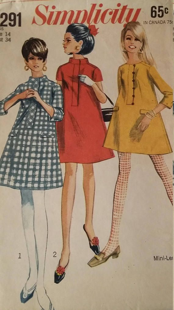 Vintage Simplicity 7291 Sewing Pattern A-line dress stand or round ...
