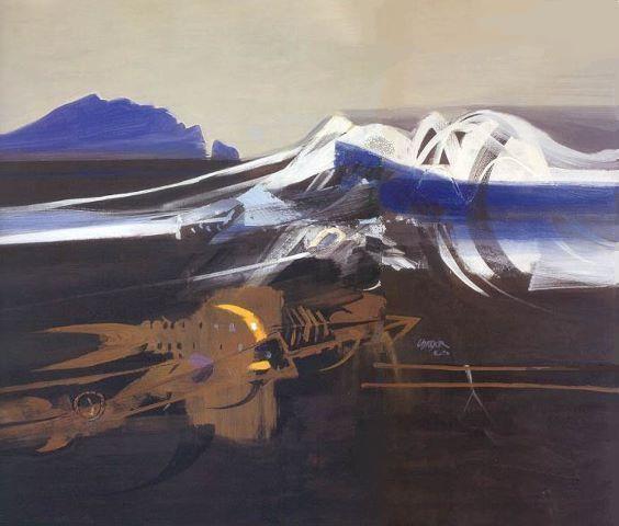 Nacimiento de los Andes 1965  Alejandro Obregon  acrylic on canvas  134 x 165 cms.