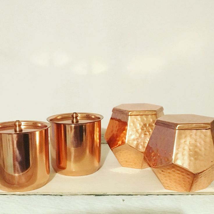 Beautiful copper candle jars