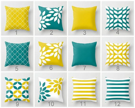 Throw Pillow Covers Mustard Yellow Teal White by HLBhomedesigns