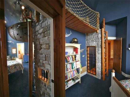 Children's pirate ship playroom
