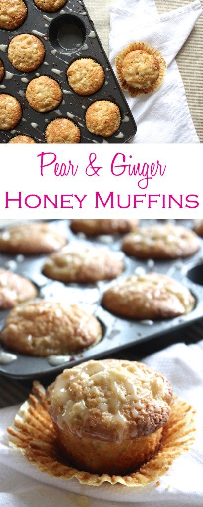 Pear and ginger honey muffins are packed with flavor and easy to make—no mixer required! | Recipe by @haleydwilliams