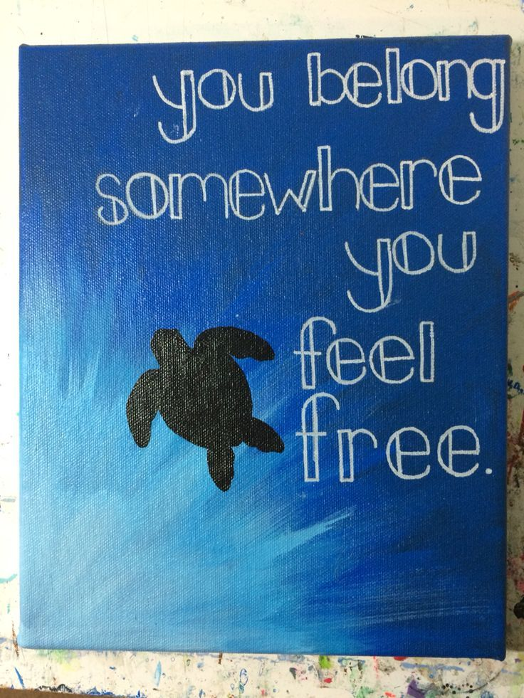 DIY hand painted turtle canvas with quote.